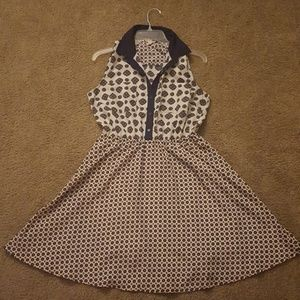 Maison Jules - Button-up Collar Patterned Dress